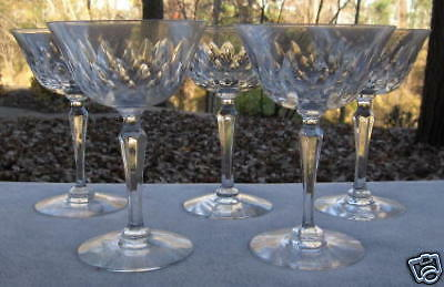 FIVE Tiffin Princess Cutting Champagne Goblets MINT