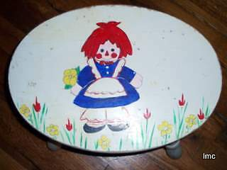 RAGGEDY ANN Hand Painted Vintage Footstool - Chippy and Charming