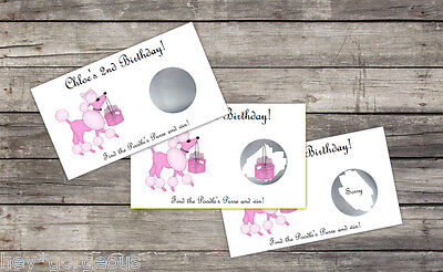 PINK Poodles Paris Birthday Party Scratch Off Card Game