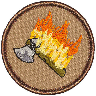 Cool Boy Scout Patches- Flaming Tomahawk Patrol! (#105)
