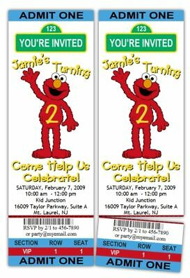 10 ELMO Sesame Street TICKET Birthday Party Invitations
