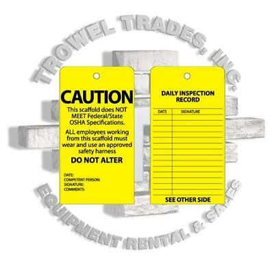 Scaff Tag Job Site Safety Caution 25 Pack Scaffold Tag