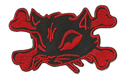 Patche patch écusson brodé patche Chat Rouge Skull Red Cat thermocollant