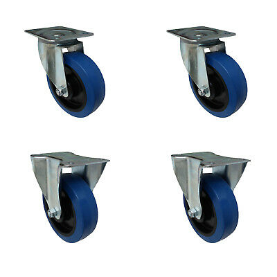 Set 160 mm Blue Wheels Elastik Rollen als Lenkrollen 2L+2B Transportrollen
