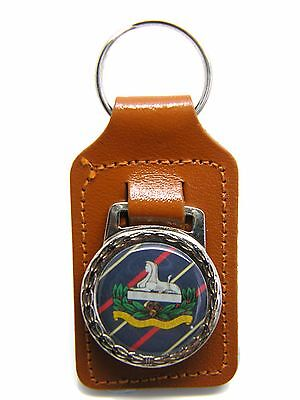 The Gloucestershire Regiment Army Badge Detail Military Leather Keyring Gift