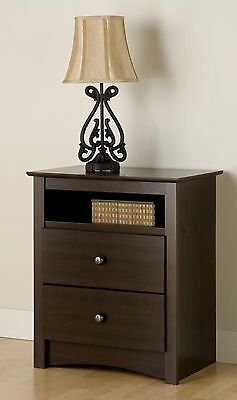 Bedroom Furniture Tall 2 Drawer Night Stand - Espresso