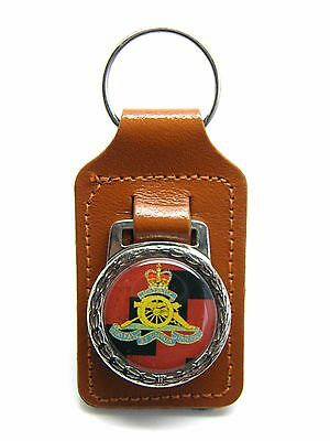 The Royal Artillery Army Military Badge Detail Leather Keyring Key Fob Gift
