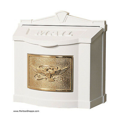 Gaines Metal Wall Mount Mailbox - Eagle Plate Mail Box Black White or Bronze