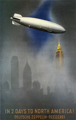 Vintage German Zeppelin Travel AD  Poster 1930's