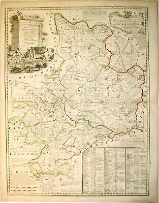 c1755-60 COUNTY MAP OF HUNTINGDON * BOWEN *ORIGINAL*