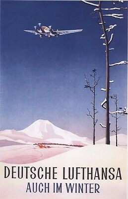 """Vintage Lufthansa """"Also  in the Winter"""" Travel Poster"""