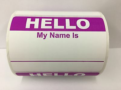 """PURPLE Hello My Name Is Badge Tag Identification Labels (31/2""""x2-3/8"""", 500/Roll)"""