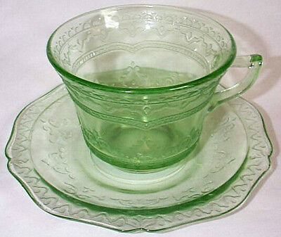 Federal Glass Co. Patrician Spoke Green Cup & Saucer Set!!