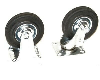 """4PC 6"""" Caster Wheels 2 Swivel Base With Bearings 2 Fixed Base With Rubber Tires"""