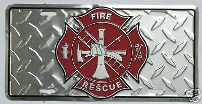 Firefighter Fire Rescue Diamond Embossed License Plate