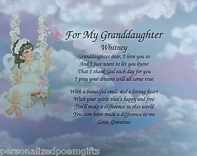 POEM FOR MY GRANDDAUGHTER BIRTHDAY OR CHRISTMAS PERSONALIZED GIFT
