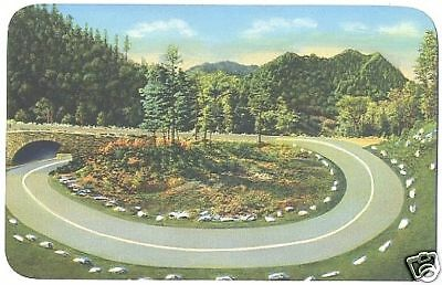 Chrome Postcard Loop-Over Newfound Gap Smoky Mtns NP NC
