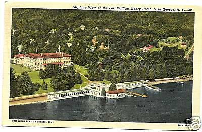 Aerial Fort William Henry Hotel Lake George NY Warren