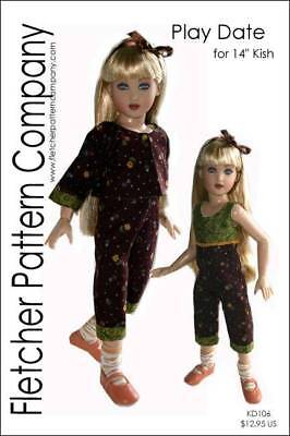 "Play Date Doll Clothes Sewing Pattern for 14"" Kish a Designs by Jude"