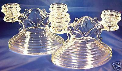 L.E. SMITH MANHATTAN CRYSTAL DOUBLE CANDLE HOLDERS!