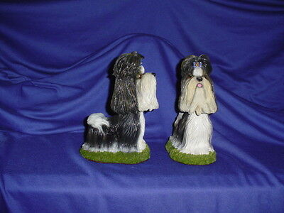 "2 Shih tzu Bobble Head figurine Dog  7 1/2"" Toy show dog resin hand painted"