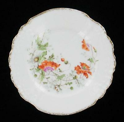 ANTIQUE KPM MEISSEN FLORAL POPPIES DAISIES SHELL SCALLOPED CABINET PLATE 6""