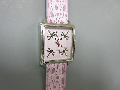 New Purple Dragonfly Square Watch 4 Dragonflies in Dial Leather Band