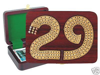 29 Cribbage Board Box Continuous 3 Tracks Wooden Handmade