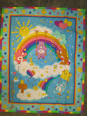 "Large Rainbow Trail Care Bear Crib Blanket 35"" x 44"" - Vintage"