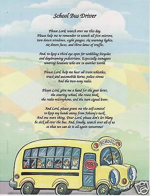 SCHOOL BUS DRIVER Poem Prayer Personalized Name Print