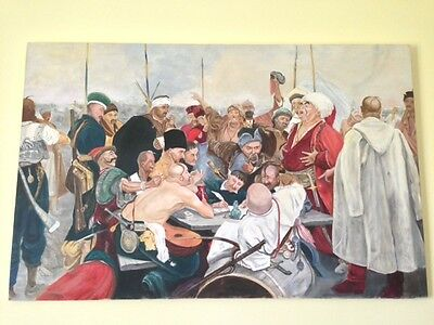 UKRAINIAN OIL PAINTING - Zaporizhian Cossacks