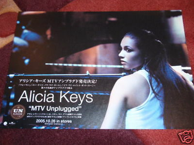 Rare ALICIA KEYS Japan flyer MTV UNPLUGGED CD/DVD promotional only mini-poster