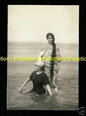 EXTREMELY LONGHAIR WOMAN on the SEA * Vintage 10s Photo