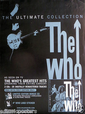 "THE WHO ""ULTIMATE COLLECTION"" U.S. PROMO POSTER + FLAT -Townshend Doing Windmill"