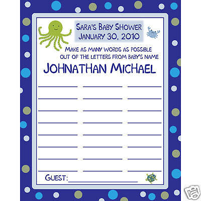 24 Baby Shower Baby Name Game Cards UNDER THE SEA
