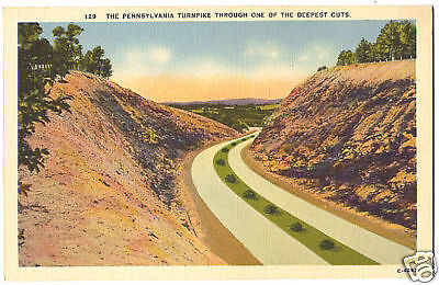 Vintage Linen Postcard PA Turnpike Through Deepest Cuts