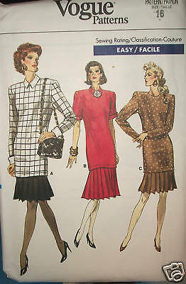 Miss MP Vogue UNCUT Sewing Pattern 7121 Easy Pleated Flounce Dress Size 16