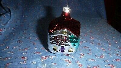 Christmas Ornament Colorful House Red Roof  3 inches