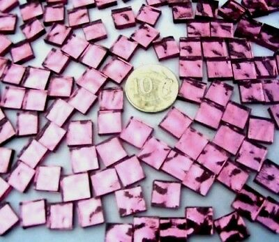 100 PINK Mosaic MIRROR Tiles 1cm x 1cm Craft & scrapbooking