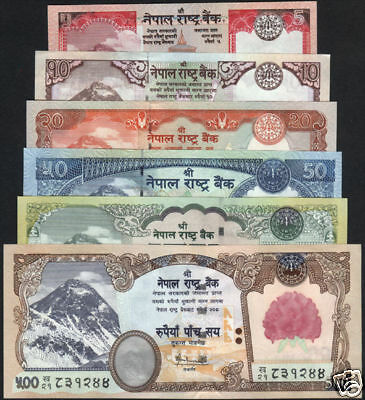 NEPAL EVEREST Banknote Rupees 5, 10,  20,  50, 100 and 500 set of  6pcs UNC