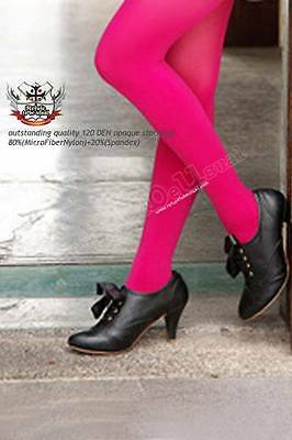 120 Den Opaque Solid Color Tights Pantyhose Neon Pink