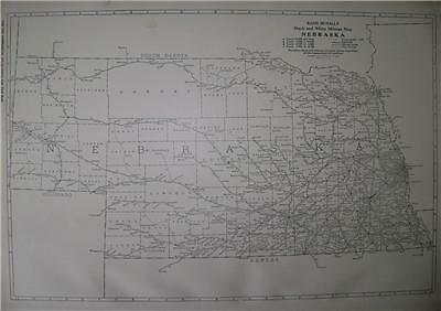 1921 Nebraska  Commercial Mileage Map* Mail Routes
