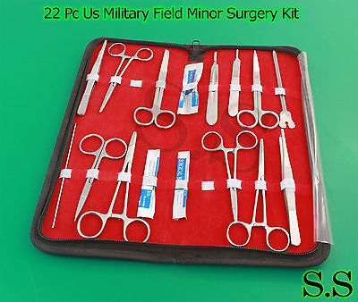 22 Pc Us Military Field Minor Surgical Instruments Kit