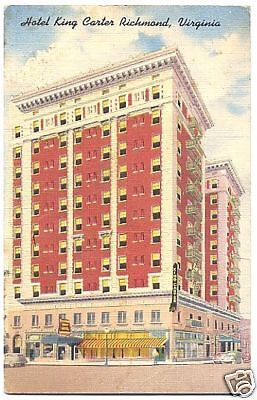 Linen Postcard Hotel King Carter Broad St Richmond VA