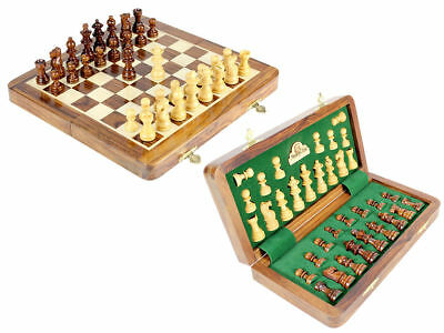 "10"" Chess Set Travel Magnetic Folding Board Golden Rose Wood - House of Chess"