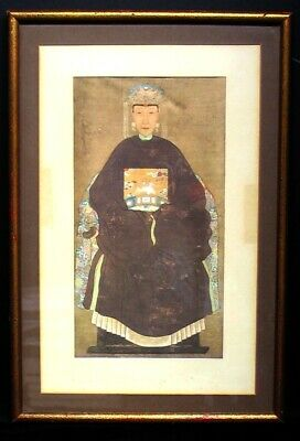 Antique Chinese Vintage French Color Engraving On Silk Print Wood Framed Asian