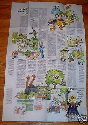 Close Up USA  AR OK LA TX Southern Frontier National Geographic Vintage Map 1974