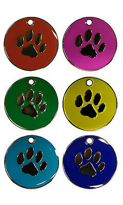 Personalised Pet Dog Paw 25mm Identity ID Tag Disc Engraved FREE