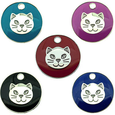 Personalised Pet Cat Face Identity 20mm ID Tag Disc Engraved FREE