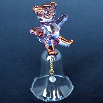 Teddy Bear Bell Figurine Hand Blown Glass with 24K Gold
